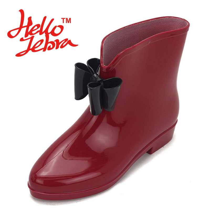 Women Fashion Rain Boots Lady Bowtie Low Heel Round Toe Solid Slip On Waterproof  Welly Buckle Rainboots 2016 New Fashion Design women tall rain boots ladies low hoof heels waterproof graffiti buckle high nubuck round toe rainboots 2016 new fashion design