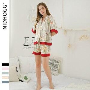 Image 2 - Шорты с короткими рукавами, пижамы для женщин, комплект из двух предметов, летние атласные пижамы, пижамы с принтом из вискозы, домашняя одежда, Прямая поставка