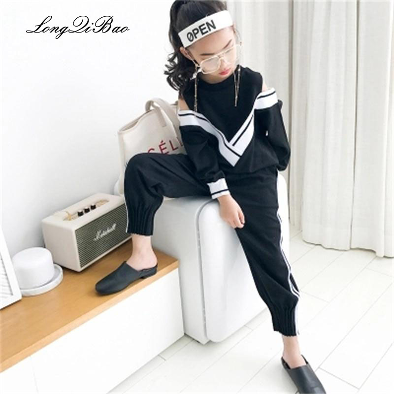 2018 New Girls Sportswear Kids Strapless Navy Style Tracksuit 2 Piece Sweatshirt Pants Sports Suit Teenage Girls Clothing Set цены онлайн