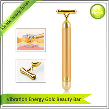 High Frequency Vibration 24K Gold Plated Energy Beauty Bar Anti Aging Face Eye Wrinkle Removal Skin Lifting Tightening Massager