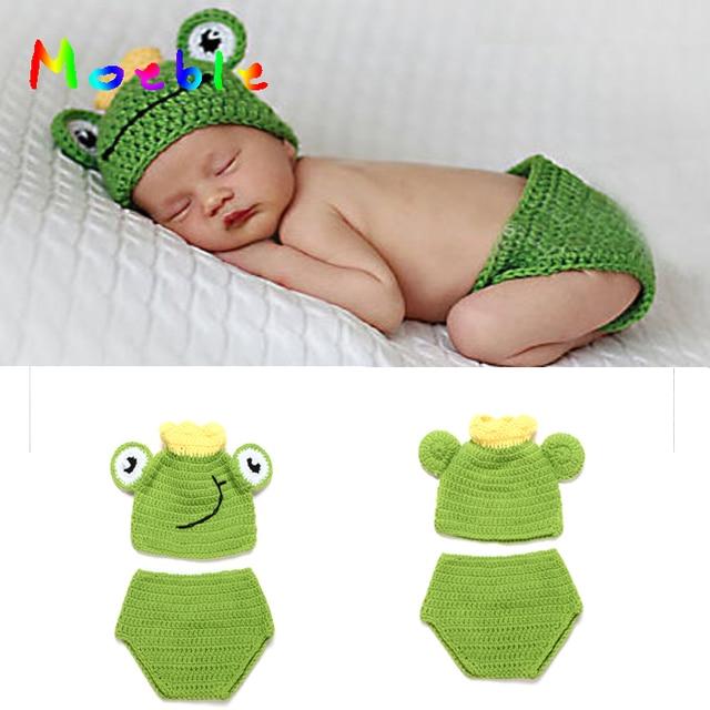 Häkeln Neugeborenen Baby Frosch Hut mit Krone Grün Frosch Hut Hosen ...