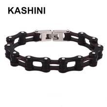 Punk Black Brown Bike Ladies Bracelet Women Motorcycle Chain Hand Stainless Steel 316L Bracelets Jewelry Gift недорого