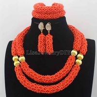 FashionNew Orange Nigerian Wedding African Beads Jewelry Set Handmade Indian Dubai Bridal Necklace Sets Free Shipping HD8266