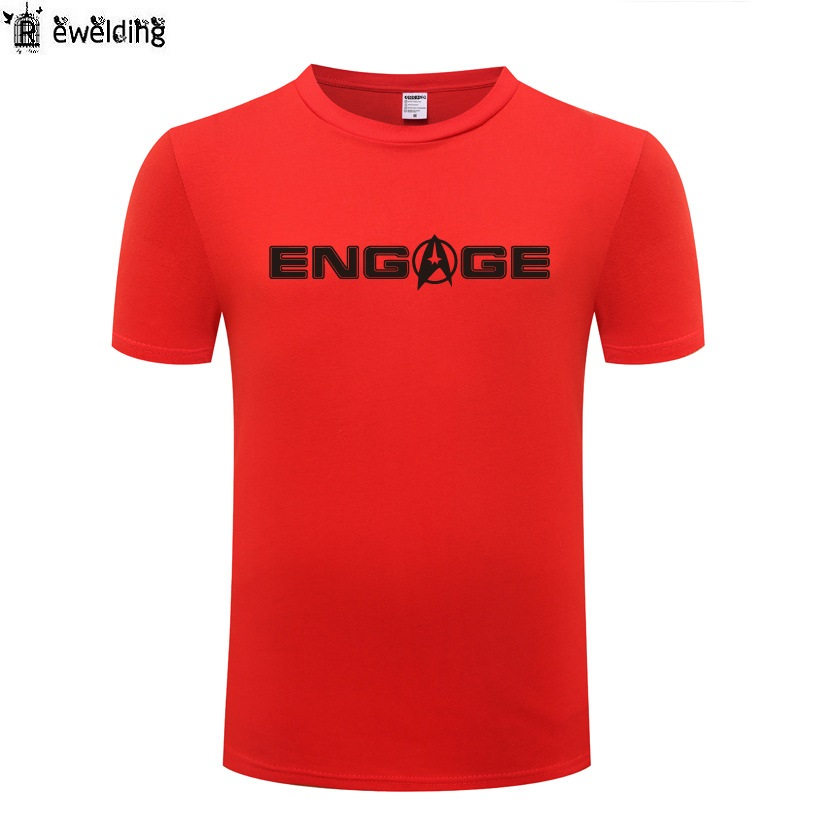 Engage Captain Jean Luc Picard-Star Trek Men T Shirt Funny T Shirts Men Cotton Short Sleeve Tshirt Streetwear Tee Shirt Homme