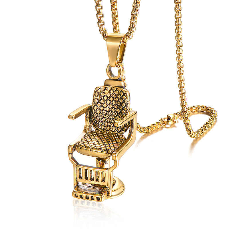 Hip Hop Rock Titanium Stainless Steel Barbershop Sofa Chair Pendants Necklace for Men Barber Jewelry Gold Silver
