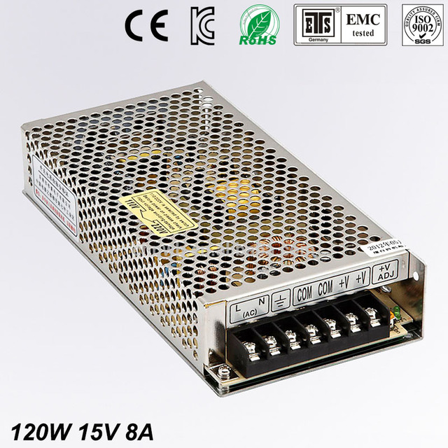Universal15V 8A  120W Regulated Switching Power Supply Transformer 100-240V AC to DC For LED Strip Light Lighting CNC CCTV MOTOR
