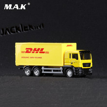 1/64 Scale Express DHL Cargo Truck Models Yellow Pull Back Alloy Plastic with Box Toys for Collections Displays Children Gifts(China)