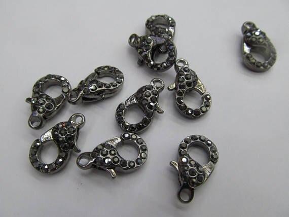 Gros 50 pcs fermoir pavé Micro cristal pavé diamant fermoirs bijoux fermoir Gunmetal argent Rose or hématite bijoux fermoirs 12- - 6