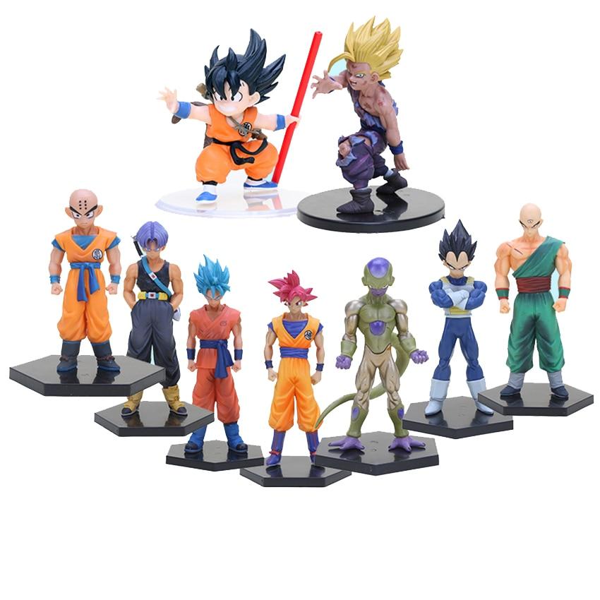 11-18cm Dragon Ball Z Super Kuririn Resurrection F Vegeta Trunks Son Goku PVC Action Figures Toys Dolls