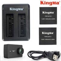 KingMa For Xiaomi Yi 4K Plus Battery 2PCS 1400mAh Batteries Dual USB Charger For XiaoYi Xiaomi