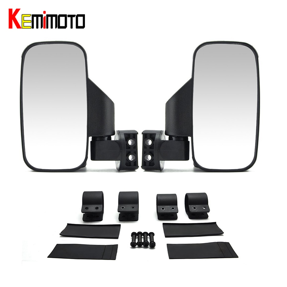 KEMiMOTO for Polaris RZR Ranger for Bobcat For Can Am for Arctit Cat 2/1.75Break-Away Side Mirrors Rubber Pad Rear View mirror