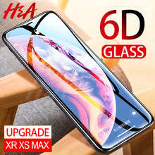 H&A Protective Glass on the For iPhone X XS Max XR Tempered Screen Protector Film 0.25mm 6D Curved Edge Glass XR XS Max Film(China)