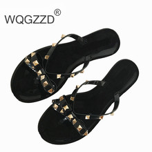f05348fdb5af 2018 European summer new fashion rivet bow flat flip flops women wear cool slippers  jelly shoes