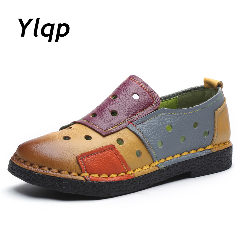 Ylqp 2018 New Women Loafers Patches stitching Flat Shoes Woman Summer Flats Hollow Out Soft Genuine Leather Shoes Moccasins 2017 women loafers lady flat shoes woman summer flats hollow out comfortable soft outsole genuine leather moccasins