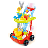 24 Pcs Kids Cleaning Set Watering Can Trowel Shovel Pretend Potted Flower Gardening Trolley Simulation Repair Tools Cart Toy Set
