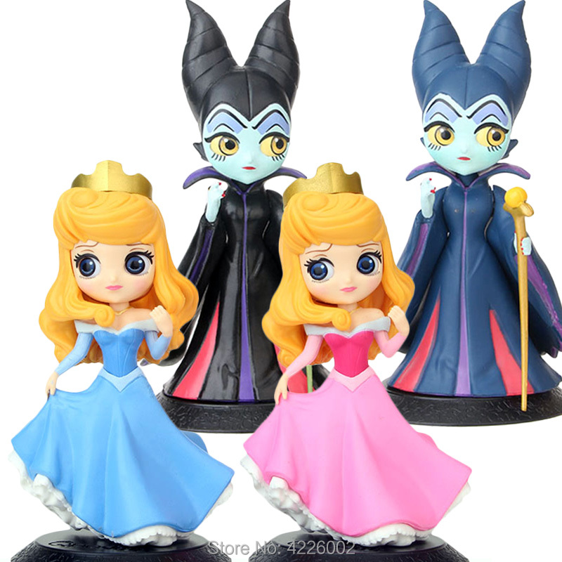 Q Posket Maleficent Evil Queen Princess Aurora 101 Dalmatians Cruella De Vil Sleeping Beauty Action Figures Dolls Figurines Toys