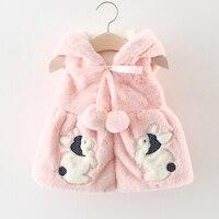 Baby girl clothes winter cartoon rabbit baby vest sleeveless baby girl hoodie coats 1 2years baby girls coat