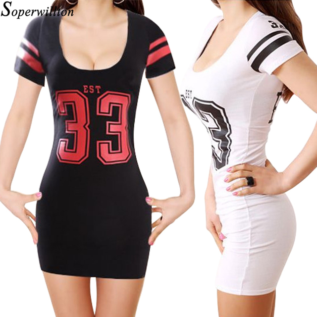 1a1d077e68bb T shirt Bodycon Dress Women Short Sleeve Mini Pencil Sexy Dresses Letter  Low Cut Bandage Tshirt Dress 2018 Summer Vestidos  X4
