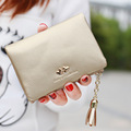 2 Fold  Women Wallets Tassel Soft Leather Zipper Wallet Ladies Candy Color Ladies Day Clutch