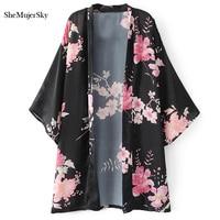 SheMujerSky Kimono Cardigan Long Shirt Women Floral Printed Camisas Femininas Manga Longa 2017 Blouses Blue Red
