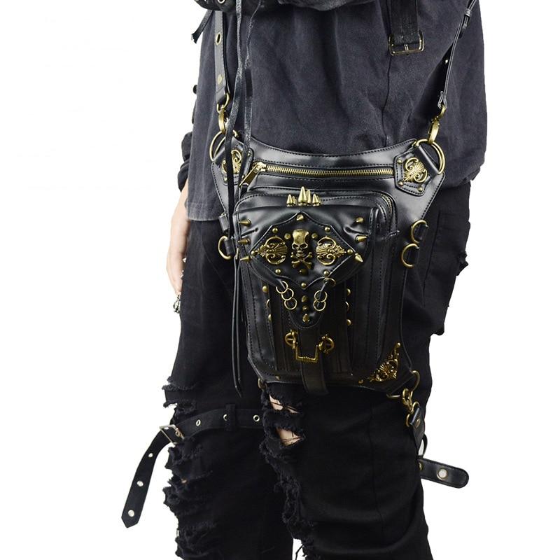 0dbf42e779 Hot Punk Waist Bags Vintage Woemen Messenger Bag Fashion Shoulder Bags  Mobile Phone Travel Steampunk Leather Leg Bag Belt Unisex