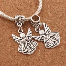 Angel Wing Charm Beads 32.9x15.4mm 100PCS Antique Silver Dangle Fit European Bracelets Jewelry DIY B216 frog charm beads 30 8x15 6mm 100pcs antique silver dangle fit european bracelets jewelry diy b167