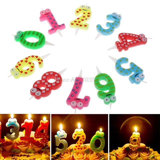 Birthday Candle Party Supply Cartoon Number 0 1 2 3 4 5 6 7 8 9 Candles Happy Cake Topper Cute Decoration