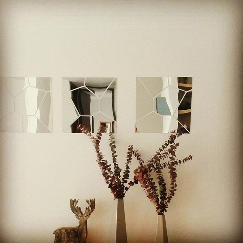 moderno de acrlico del espejo d pegatinas de pared de espejos decorativos para cuarto etiqueta casera