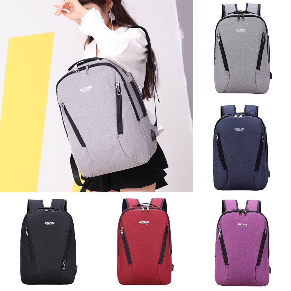 anti-theft backpack Unisex USB Charging Backpack Large Capacity Travel Business Password Tote Preppy Style Soft  Teenage