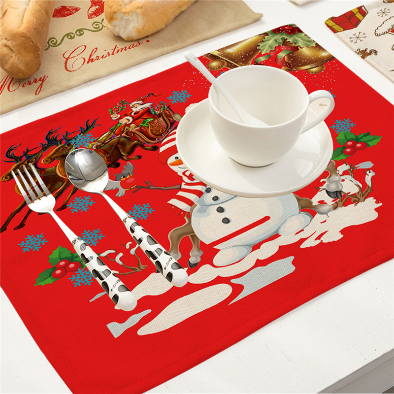 High Quality Linen Bowl Fork Placemat Mat Decoration Home Party Christmas Santa Claus square 43*32cm Placemats For Dining Table