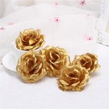 Cabeças de flores artificiais de rosa, flores decorativas de 8cm douradas, para decoração de casamento, festas, banquetes e flores de seda com 10 peças