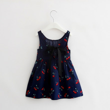 2-7y Girls Clothing Summer Girl Dress Children Kids Berry Dress Back V Dress Girls Cotton Kids Vest dress Children Clothes 2017