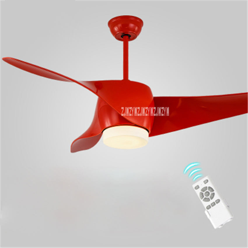 Ceiling Fan Variable Frequency Led Light 52 Inch European Living Room Fan Lamp 3 Leaves 5 Stalls Remote Control 110-240v 15-75w Easy To Use Ceiling Fans