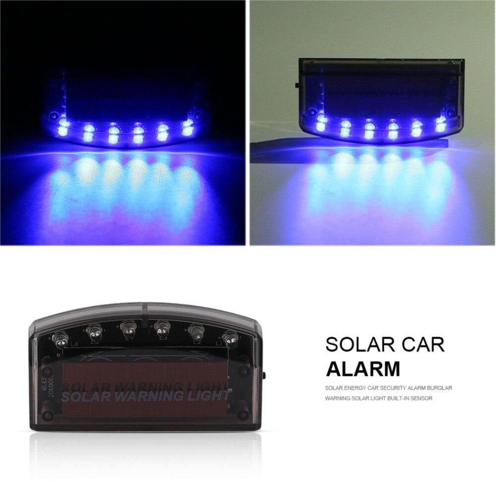 Solar Energy Car Security Alarm Flash Blue Light 6LED Burglar Warning Solar Light Built-in Sensor Increase Traffic Safet