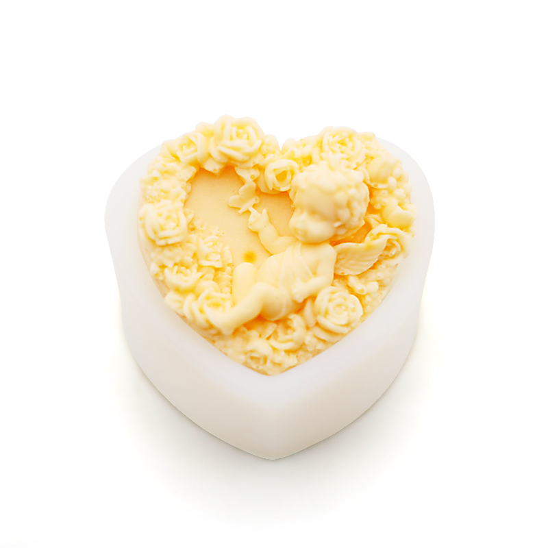high-end handmade soap silicone mold heart shaped angel with thick cold
