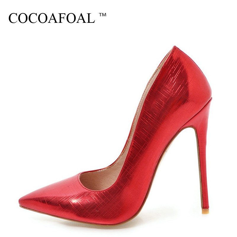 COCOAFOAL Woman Red Wedding Shoes Shallow Fashion Sexy High Heels Shoes Plus Size 33 - 48 Pointed Toe Pink Golden Silver Pumps cocoafoal woman green high heels shoes plus size 33 43 sexy stiletto red wedding shoes genuine leather pointed toe pumps 2018