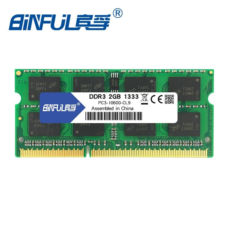 Binful Original New Brand ddr3 2GB PC3-10600 1333mhz MEMORY ram 204PIN 1.5V CL9 SODIMM Laptop SDRAM ნოუთბუქი