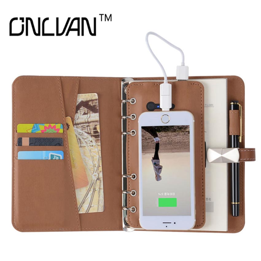 8 GB USB Multifunction Notebook with 4000 6000 mAh Power Bank Notebook 6 in 1 Business Writing Pad Office Accessories Gift