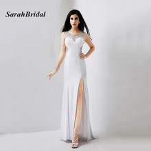 Real Pictures Elegant See Through Split Front White Long Evening Dresses With Crystals In Stock vestido