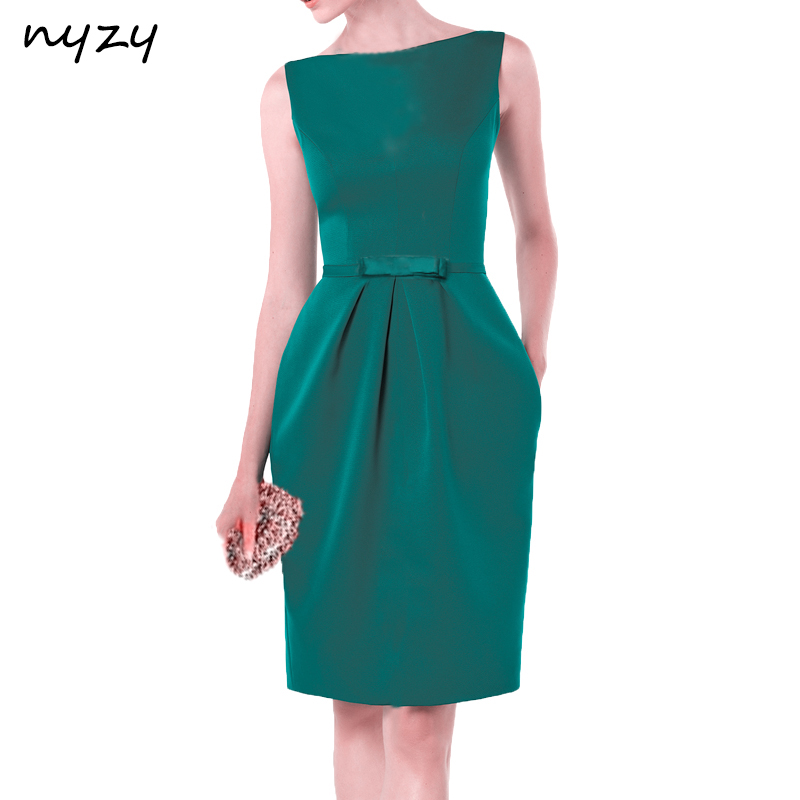 NYZY C20 Satin Pockets Short   Cocktail   DressesEmerald Green Wedding Party Guest   Dress   Robe Coctel vestidos de festa curto