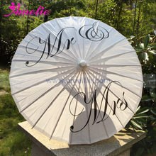 Free Shipping Wedding Personalized Custom Mr and Mrs Parasol Printed Bride Paper Wedding Umbrella Photo Prop Ceremony