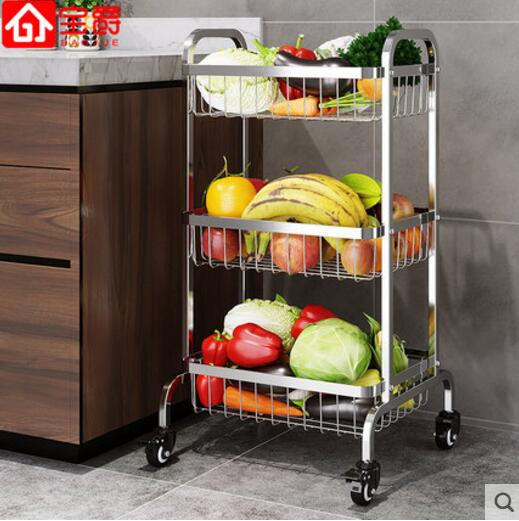 Kitchen vegetable rack floor to floor 304 stainless steel thickening multi layer wheeled fruit storage and storage shelves