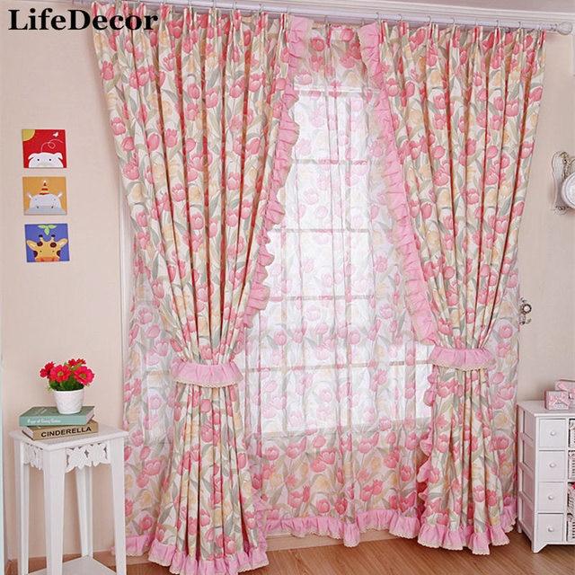 Yilianyoumeng High Grade Cotton Curtain Korean Garden Living Room / Bedroom  Window Curtains Fabric Screens