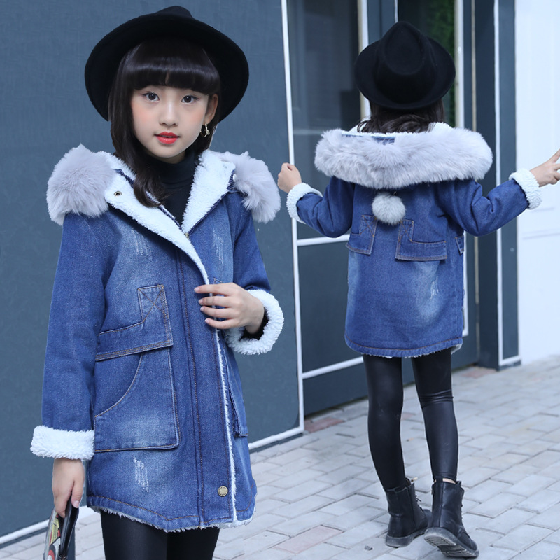 2018 Girls Denim Jacket Winter Thick Coats Fashion Kids Hodded Coat Girl Clothes Cowboy Fur Collar Outerwear Children Clothing2018 Girls Denim Jacket Winter Thick Coats Fashion Kids Hodded Coat Girl Clothes Cowboy Fur Collar Outerwear Children Clothing