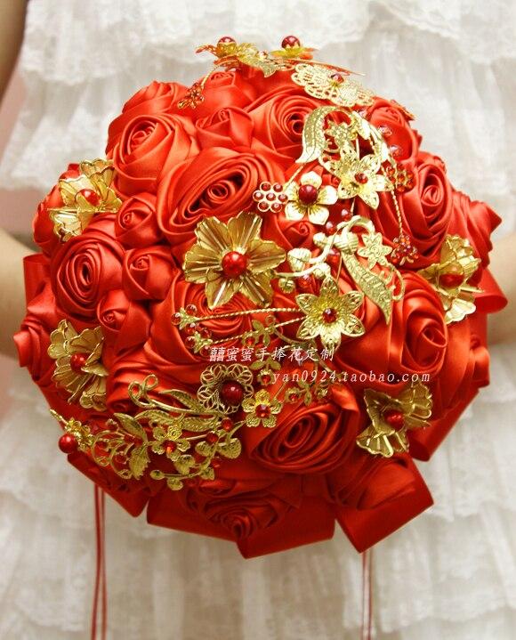 Chinese Wind Flash Red Golden Bride Holding Flower Wedding