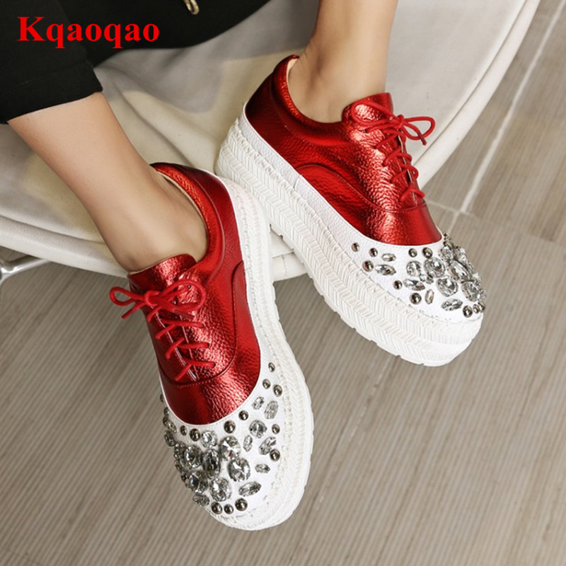 Round Toe Women Casual Shoes Low Top Flat Platform Shoes Crystal Embellished Runway Super Star Shoes Brand Design Zapatos MujerRound Toe Women Casual Shoes Low Top Flat Platform Shoes Crystal Embellished Runway Super Star Shoes Brand Design Zapatos Mujer