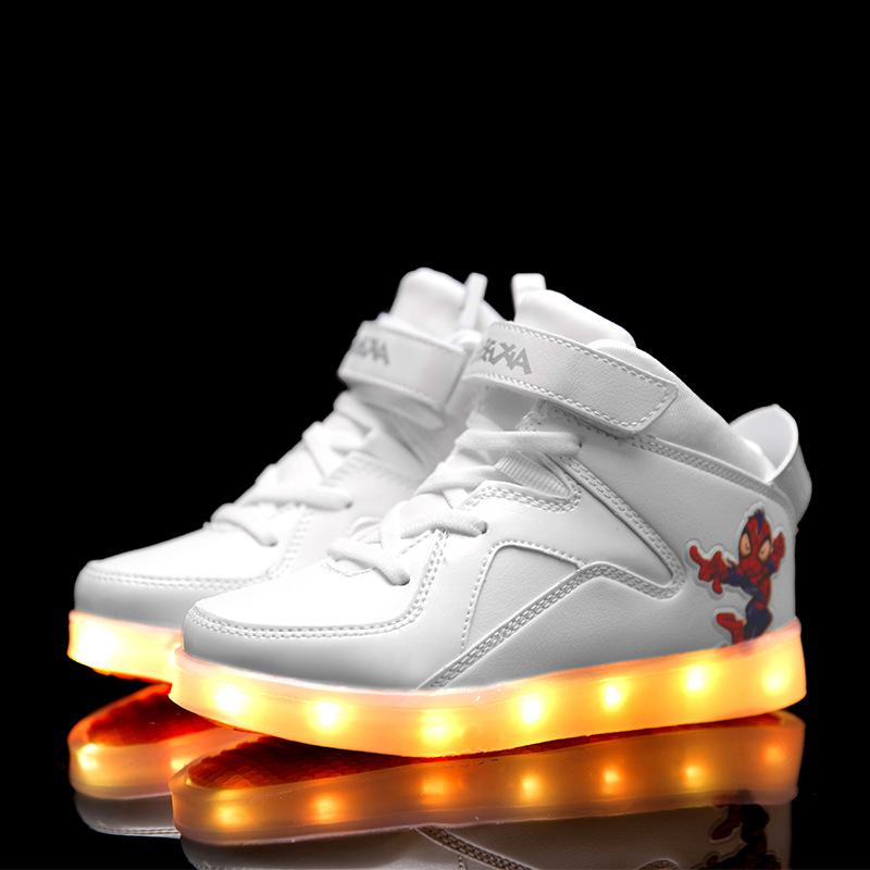 ФОТО Casual Led Shoes 2016 Fashion Kid Shoes with Light Luminous Spiderman Sneakers USB Charging Light Up kids Glowing Led Shoes