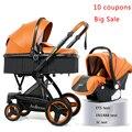 Роскошная детская коляска 3 в 1 высокое качество детская коляска для младенца могут быть активными, вы можете сидеть или лежать детская коля...