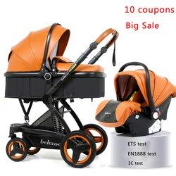 Luxe Kinderwagen 3 in 1 Hoge Kwaliteit Baby Kinderwagen Kan Zitten Kan Liggen Kinderwagen