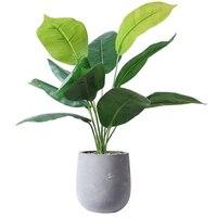 Artificial Plant Cement Pot Artificial Monstera Scindapsus Taro Leaf Desktop Potted plant Flower Pots